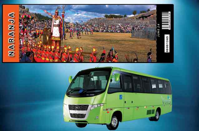 Billet Inti Raymi 2020. Orange section + bus de tournée